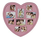 Bilderrahmen in Herzform rosa 42 x 42 x 2 cm | Für 11 Fotos | Stabiler Plastikrahmen