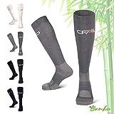 COMPRESSION FOR ATHLETES Hochwertige Bambus Kompressionsstrümpfe, Überlegenen, Flache Spitzennähte, Reduzieren das Risiko von Geschwollenen und Müden Beinen. Hergestellt in der EU (Grau, Large)