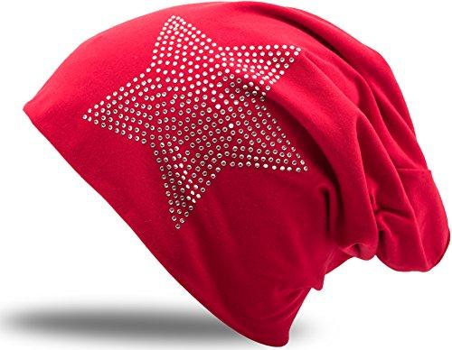 Jersey Baumwolle Elastisches Long Slouch Beanie Unisex Herren Damen mit Strass Stern Steinen Mütze Heather in 35 (2) (Dark Red)