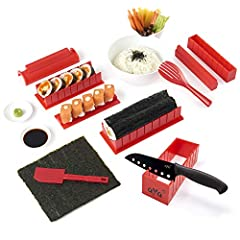 Idea Regalo - Sushi kit - Sushiaya da sushi Maker Deluxe rosso completo con coltello e esclusiva online video tutorial 11 Piece DIY sushi set - facile e divertente per principianti - sushi roll Maker - Maki rotoli