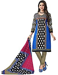 HRINKAR Women's Cotton Salwar Suit Dupatta Dress Material (HRKT1639_Yellow And Pink_Free Size)