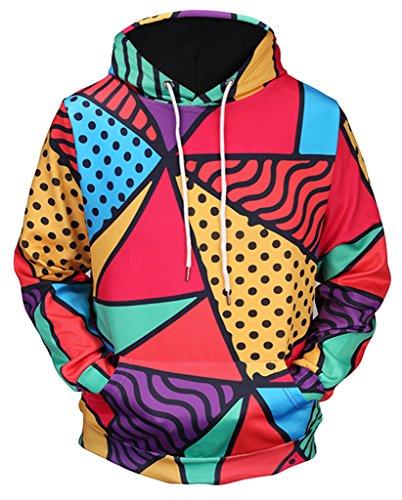 Pizoff Unisex Hip Hop Sweatshirts druck Kapuzenpullover mit Farbkleks 3D Digital Print bunt stern streifen muster