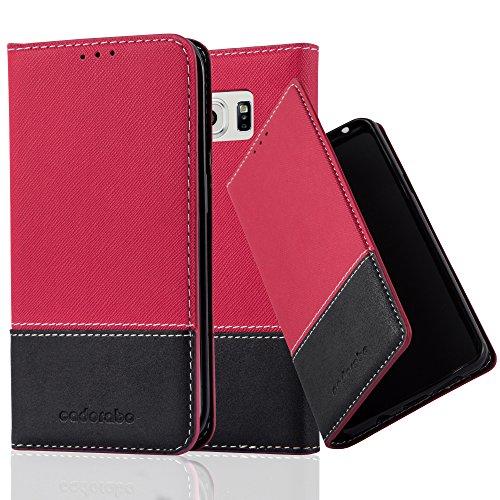 Cadorabo Hülle für Samsung Galaxy S6 Edge - Hülle in ROT SCHWARZ - Handyhülle mit Standfunktion & Kartenfach aus Einer Kunstlederkombi - Case Cover Schutzhülle Etui Tasche Book
