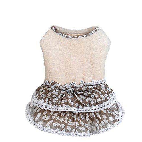Hawkimin Niedlicher Haustier Kleid Haustier Hund Katze Wintermantel Welpen Warm Bowknot Gem Sweater Rock Kostüm Mädchen - Niedliche Mädchen Hunde Kostüm
