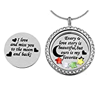 MJARTORIA Personalized Stainless Steel Story Engraved Star Floating Charms Locket Necklace