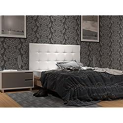 LA WEB DEL COLCHON Cabecero de Cama tapizado Acolchado Corfú (Cama 150) 160 x 120 cms. Polipiel Color Blanco. Incluye herrajes para Colgar con regulador de Altura