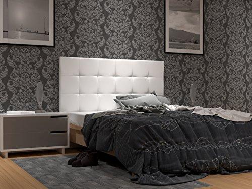 LA WEB DEL COLCHON Cabecero de cama tapizado acolchado Corfú (Cama 150) 160 x 70 cms. Polipiel color Blanco. Incluye herrajes para colgar con regulador de altura