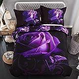 Lila Bettbezug-Set Doppelte Größe Rose BLUMEN Bettwäsche,Mikrofaser-Bettbezug, Böhmisches Bettbezug-Set mit 2 Kissenbezüge Doppelte Größe 200 * 200 cm