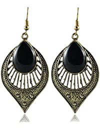 Alpana Fashion Jewellery Fancy Stylish Jewellery Leaf Shape Black Stone Handmade German Silver Plate Drop Dangling...