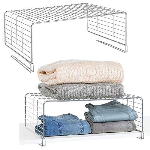 mDesign Juego de 2 cestas metálicas para armarios - Moderno separador de...