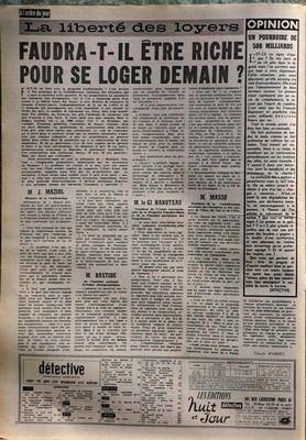 DETECTIVE N° 840 du 03-08-1962 IMMOLEE AU DIEU VAUDOU HAITIEN - LES FRERES GALL - TRAGEDIE D L'ILE D'OLERON - GUSTAVE CARRE - LA LIBERTE DES LOYERS