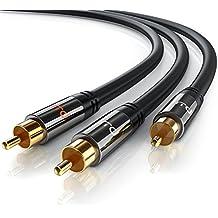Primewire - 3m HQ Y Subwoofer Cavo | RCA Audio Cavo | Connettore 1x RCA maschio a 2x RCA maschio | Spinotto in metallo pieno dalle dimensioni perfette | Serie Premium HQ - Due Rca Maschio Speaker Cable