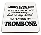 In My Head I\'m Playing My Trombone Novelty Gift Coaster