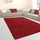 ALFOMBRAS Shaggy Hochflor suave flokati Salón barato Ofertas Rojo, 100 % polipropileno, rojo, 160 cm_x_220 cm