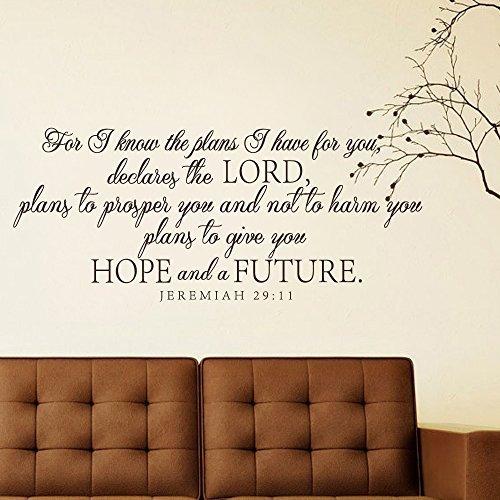 Sticker Decal Wandtattoo Jeremiah 29 für I Know The Plans I Have for You (englischsprachig), christliches Zitat (Braun, 36,8 x 86,4 cm)