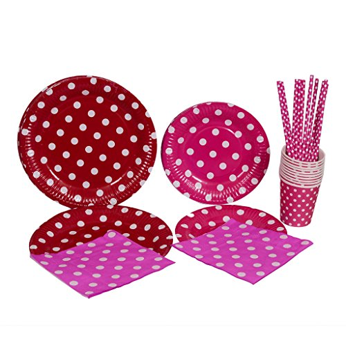 kraftz® 50PC Set–22,9cm Pappteller, 19,1cm Papier Teller, Papier Trinkhalme, Servietten, Pappbecher–Einweg Geschirr mit Polka Dots für Geburtstag Weihnachten Hochzeit Event Party (Pink) (Weihnachten Papier Geschirr)