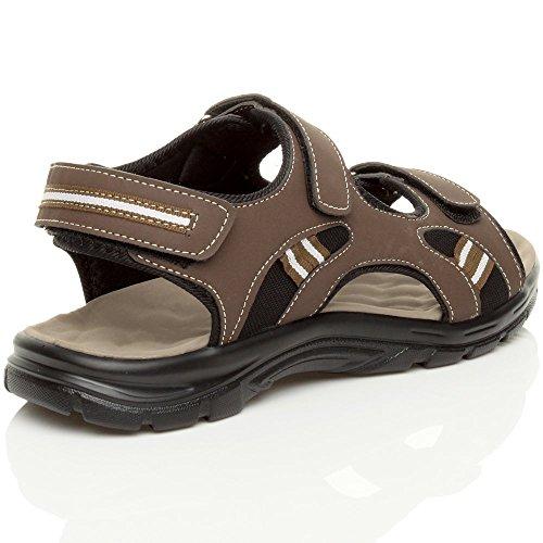 Hommes talon bas plat cuir sangle été flexible découper sandales pointure Brun