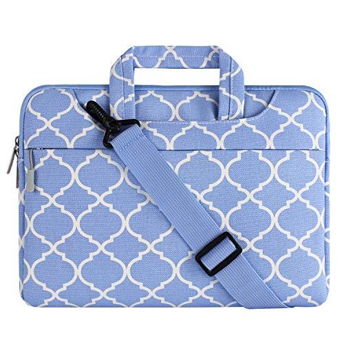 MOSISO Notebooktasche für 15-15,6 Zoll MacBook Pro, Notebook Computer Quatrefoil Stil Laptop Schultertasche Sleeve Hülle Umhängetasche mit Griff und Schulterriemen als Messenger Bag, Serenity Blau