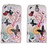 handy- point Flip Case für HTC Desire 300 Bunt, Blumen und Schmetterlinge Motiv, Etui mit Fächer für Ausweis, EC-Karte