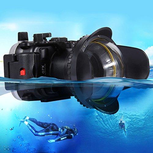 PULUZ Optisches Fisheye Objektiv Schatten Weitwinkel Dome Port Objektiv Domeport für Unterwasser Gehäuse Unterwasserfotografie (60mm Rundadapter), 60m Unterwasser Tiefe Fisheye-port