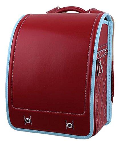 EOZY Unisex Schulranzen Rucksack Schultasche PU Box Hart Japanischer Stil Rot Hoch33CM