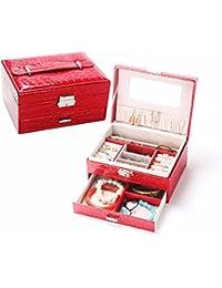 QPSSP Caja De Joyeria, Moda Cuero Cuadrado, Sola Bomba Caja De Joyeria, Doble Capa De Bloqueo Ornamento Caso,B