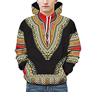 Anglewolf Lovers Autumn Winter African 3D Print Long Sleeve Dashiki Hoodies Sweatshirt Top Men Casual Pullover Pockets Coat Tops Loose Women Jumper Mode Christmas Couples Blouse Shirts(Black,M)