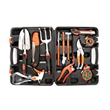 LESHP 12 Piece Garden Tool Set Including Spade, Knife, Cultivators, Shears, Fork, Rake, Secateurs and Trowel in Box Case - Gardening Tools Set for the Gardener Gifts