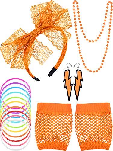 80s Lace Stirnband Ohrringe Fischnetz Handschuhe Halskette Armband für 80s Partei (Orange)