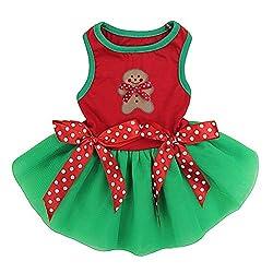 Kirei Sui Christmas Gingerbread Man Red Green PETS Tutu Dress