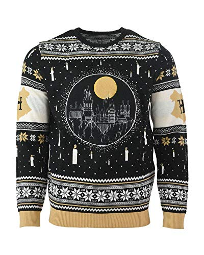 14c39ae848e9e Harry Potter Christmas Jumper Ugly Sweater Hogwarts Castle Candles LED  Light Up for Men Women Boys