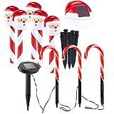 Lunartec Solar Weihnachtsdeko: Solar-LED-Gartenstecker Weihnachtsmann & Zuckerstangen im 8er-Set (LED Gartenstecker Weihnachten)