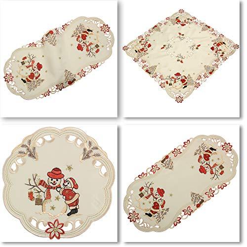 n Weihnachten Winter Stickerei Tischdecke Deckchen ca. 60 cm Rund Polyester, Creme ()