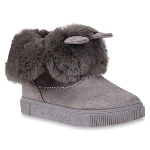 Stiefelparadies Damen Sneaker High Warm Gefütterte Sneakers Winter Schuhe Profilsohle Winterschuhe Schnürer Wildleder-Optik Turnschuhe Flandell Grau Camiri