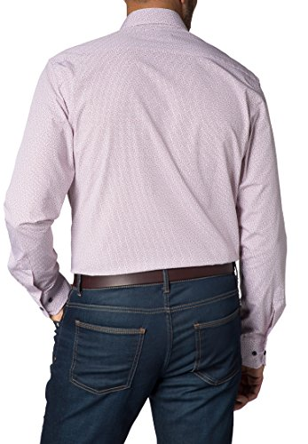 Eterna long sleeve Shirt MODERN FIT Poplin printed arancione/blu marino