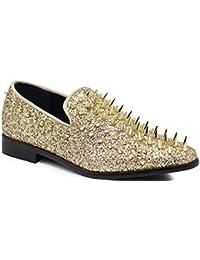 7136ff710e10 Enzo Romeo SPK09 Men s Vintage Spike Dress Loafers Slip On Fashion Shoes  Classic Tuxedo Dress Shoes