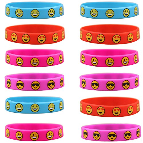 emoji armband knowing 12 Stück Kinder Silikon Armbänder,Emoji Silikon Armbände, Für Kinder Party Supplies, Neuheit Emoji Tütenfüller Kindergeburtstag Mitgebsel,4 Farbe