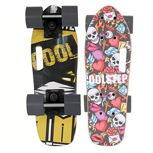 8bayfa Mini Caster Board Kleine Fische Platte Skateboard Deck, 17.5x5.5 Zoll Komplettboard mit Deck PU Wheels Skateboard for Anfänger und Profis mit 60mm Weit Rad Drop-Through Freeride Skating Cr