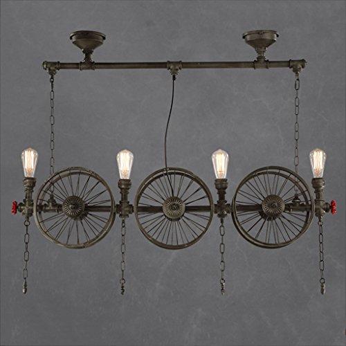 Modeen Industrielle Vintage Pendelleuchte Metall Wasserpfeife Lampe rustikale Steampunk Retro Decke 4 Lichter E27 Sockel Edison Lampe Kronleuchter, Eisen Rost Finish (Size : Four heads)