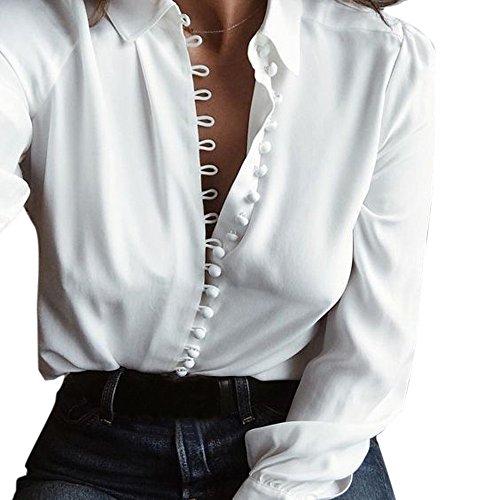 Hmeng Clearance Women Casual Solid Long Sleeve Blouse Lapel Shirt (Weiß, XL)