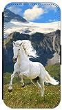 FioMi Flip Cover Hülle Samsung Galaxy S4 Mini Motiv 477 Pferd Hengst Weiß Wiese Grün Weiß Blau Handy Tasche Etui Schutzhülle Flipcover Case Wallet Bookflip Buchflip (477)