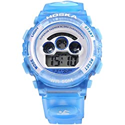 Leopard Shop HOSKA H001S Children Sports Wristwatch LED Digital Watch Day Chronograph LED Water Resistance Blue