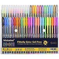 Set di 48 penne gel colorate - glitter, metallico, neon glitterato, pastello - per colorare libri per adulti e marcatori per disegnare by Mutsataz