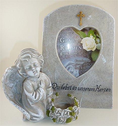 Engel neben Grabstein mit Aufschrift Du lebst in unseren Herzen Grabschmuck Grabengel Trauerschmuck Trauerengel Grabfigur Trauerfigur Gedenkstein wetterfest
