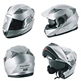 Casco Modulare Apribile Moto Touring Sport Visiera Parasole Argento L