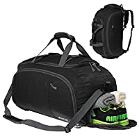 Duffel Backpack Travel Luggage Gym Sports Bag with Shoe Compartment Men Women Black