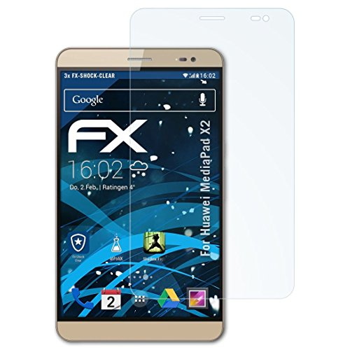 atFolix Schutzfolie kompatibel mit Huawei MediaPad X2 Panzerfolie, ultraklare & stoßdämpfende FX Folie (3X)