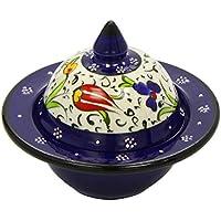 Rita Farhi Authentic Rose Turkish Delight in a Traditional  Hand Made Dark Blue Ceramic Bonbonniere, 130g