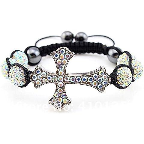pygex (TM) sbc1204265Fashion braccialetto croce Shamballa Cristallo Argilla Ball 13colori unisex regalo di compleanno NUOVO, White AB - Croce Ab Cristallo