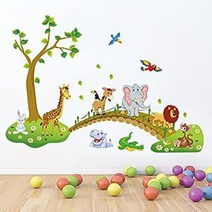 decalmile Wandtattoo Dschungel Tiere Baum Wandsticker Elefant Giraffe Löwe Wandaufkleber Kinderzimmer Babyzimmer Schlafzimmer Wanddeko